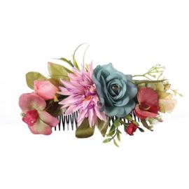 Grote romantische haarkam met blauw/roze bloemen