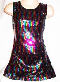 """Geweldig """"regenboog"""" glitterpailletten jurkje mt 92 t/m 110"""