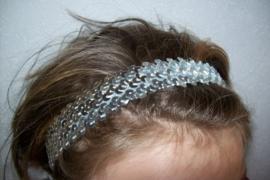 Elastieken haarband met glitterpailletten zilver