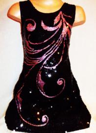Prachtig zwart glitter pailletten jurkje met elegant roze veerpatroon