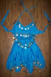 Leuk kinder buikdans setje met rinkelende gouden muntjes blauw 104-116