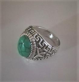 Nr. 4 Tibetaans zilveren ring met ovale groene natuursteen maat 18