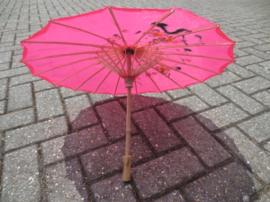 Hardroze bamboe handbeschilderde parasol 85 cm