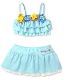 Leuke bikini met rokje blauw met bloemetjes  alleen nog maat 86 tot 104