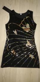 Mooi zwart glitter pailletten jurkje met gouden vlinders