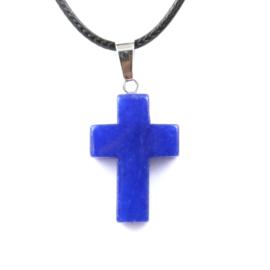 Veterketting met kruis van geslepen Lapis Lasuli