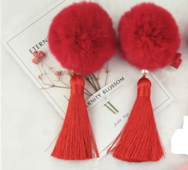 Superleuk setje èchte chinese haarclips rode bol met kwastje