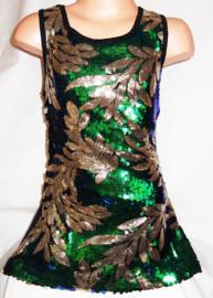 Feestelijk groen glitterpailletten jurkje met sierlijk gouden bladeren