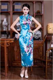 Elegante lange mouwloze Chinese pauwenjurk turquoise