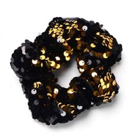 Zwart gouden pailletten scrunchie!