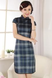 Bijzonder Chinees jurkje preppy ruit groen/donkerblauw maat 38