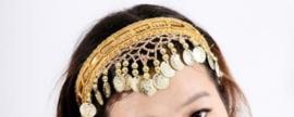 Haarband beige met gouden muntjes