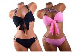 Prachtige plus size bikini gekleurde bandjes zwart maat 36 t/m 46