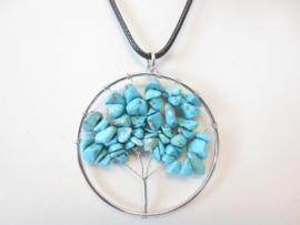 Prachtige amulet ketting Tree of Life Turkoois