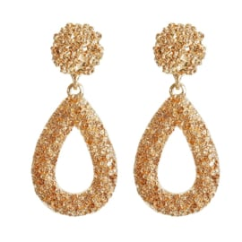 Gouden chunky oorbellen statement oorbellen druppel 5,5 cm