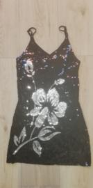 Prachtig dubbelzijdig glitterjurkje met zilveren bloemen maat 36/38