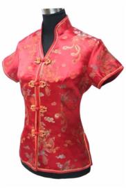 Prachtig rood chinees blousje met Chinese voorsluiting drakenmotief