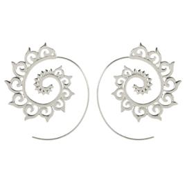 Tribal oorsteker ornament zilver
