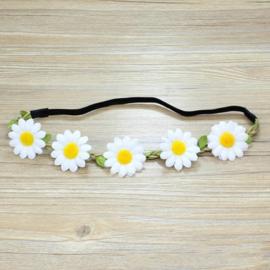 Leuke elastieken haarband met witte bloemen