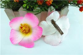 Geweldige Hibiscus Hawaïbloem 9 cm op clip roze met wit