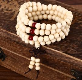 Mala unisex gebedsketting/armband sandalwood wit