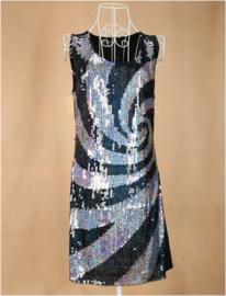 Geweldig retro glitterjurkje spiraal zilver damesmaat XS/S/M