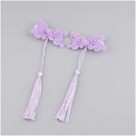 Superleuk setje èchte chinese haarclips lila knoopornament met kwastje