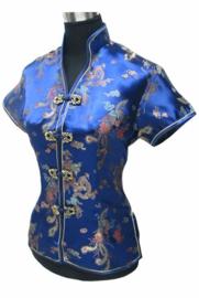 Prachtig kobaltblauw chinees blousje met Chinese voorsluiting drakenmotief