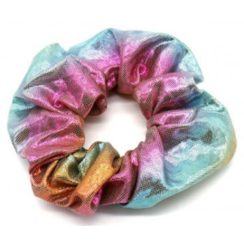 Mermaid licht multicolor glans scrunchie!