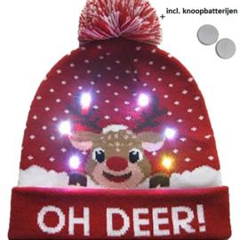 Superleuke Kerstmuts met lichtjes Oh Deer