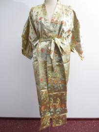 Prachtige lange gouden brokaat kimono met draken one-size