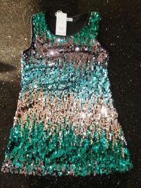 Supermooi in kleur overlopend glitter pailletten jurkje blauw/groen/zilver