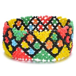 Leuke Bohemian elastische armband van kleine kraaltjes geel