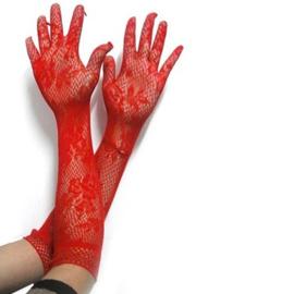 Lange handschoenen meiden/damesmaat rood kant