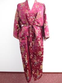 Schitterende lange bordeauxrode brokaat unisex kimono met draken one-size