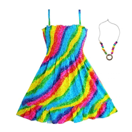 Superleuk zomerjurkje regenboog + ketting