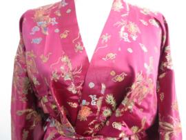 Prachtige lange bordeaux rode brokaat unisex kimono met draken one-size