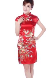 Bijzonder mooi chinees jurkje rood met rode chinese knoopjes bloemenprint