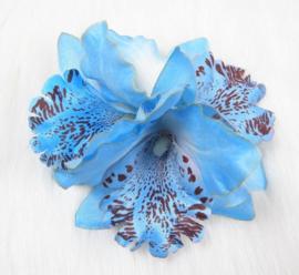 Haarclip/broche driedubbele orchidee blauw