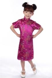 Prachtig fuchsia Chinees jurkje