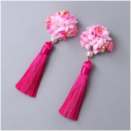 Superleuk setje èchte chinese haarclips met fuchsiaroze bloem en kwastje
