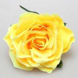 Prachtige  gele roos op haarclip/broche