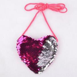 Superleuk glitter pailletten tasje hart fuchsiaroze/zilver