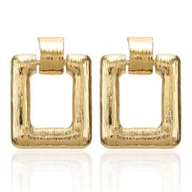 Gouden chunky vierkante statement oorbellen glad 4,5 cm