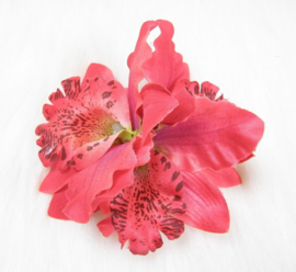 Haarclip/broche driedubbele orchidee rood