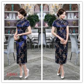Fantastische lange kobaltblauwe Chinese jurk draken en phoenix motief t/m maat 48!