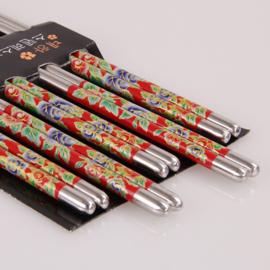Één paar metalen chopsticks/haarpennen rood met blauwe en rode roosjes