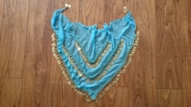 Prachtige ruime chiffon heupsjaal/omslagdoek met gouden muntjes turquoise