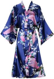 Prachtige dameskimono met pauwen navyblauw
