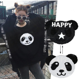 Omkeerbare pailletten applicatie Panda